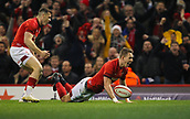 17th March 2018, Principality Stadium, Cardiff, Wales; NatWest Six Nations rugby, Wales versus France; Liam Wiliiams of Wales celebrates scoring his sides first try
