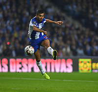 27th October 2019; Dragao Stadium, Porto, Portugal; Portuguese Championship 2019/2020, FC Porto versus Famalicao; Jesús Corona of FC Porto gets his shot goalbound