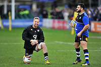 Dominic Day and Rob Webber of Bath Rugby. Aviva Premiership match, between Bath Rugby and Wasps on February 20, 2016 at the Recreation Ground in Bath, England. Photo by: Patrick Khachfe / Onside Images