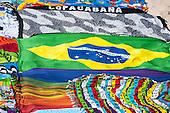 Rio de Janeiro, Brazil. Kangas for sale on Ipanema beach.