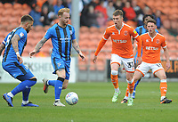 Blackpool's Chris Long vies for possession with Gillingham's Connor Ogilvie<br /> <br /> Photographer Kevin Barnes/CameraSport<br /> <br /> The EFL Sky Bet League One - Blackpool v Gillingham - Saturday 4th May 2019 - Bloomfield Road - Blackpool<br /> <br /> World Copyright © 2019 CameraSport. All rights reserved. 43 Linden Ave. Countesthorpe. Leicester. England. LE8 5PG - Tel: +44 (0) 116 277 4147 - admin@camerasport.com - www.camerasport.com