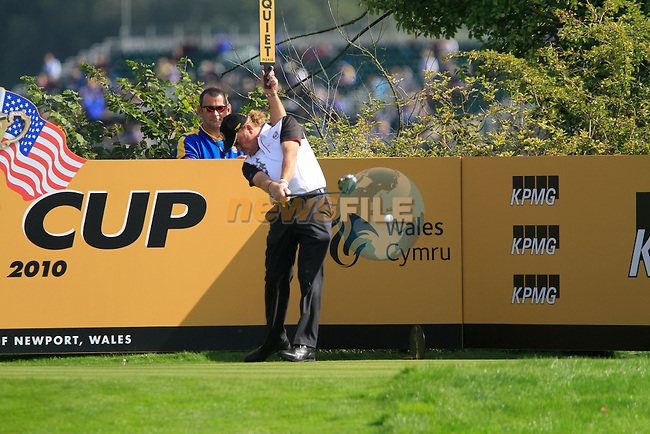 Miguel Angel Jiminez tees off during Practice Day 1 at the 2010 Ryder Cup at the Celtic Manor Twenty Ten Course, Newport, Wales, 28th September 2010..(Picture Eoin Clarke/www.golffile.ie)