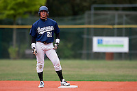 03 october 2009: Yann Dal Zotto of Savigny is seen at second base during game 1 of the 2009 French Elite Finals won 6-5 by Rouen over Savigny in the 11th inning, at Stade Pierre Rolland stadium in Rouen, France.