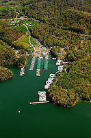 Aerial photography of and around Watauga Lake, Tenn., taken April 2011. Photo shows Fish Springs Marina.