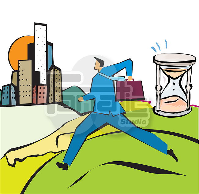 Businessman running with an hourglass