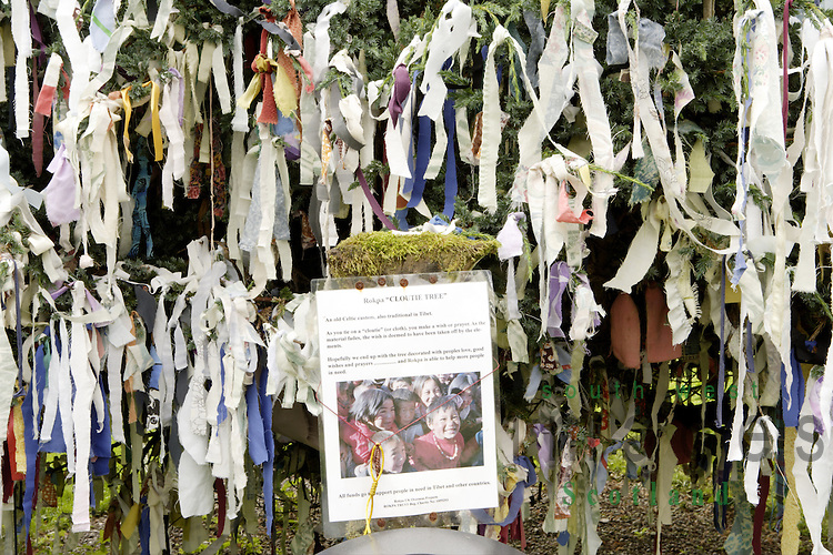 "Samye Ling Monastry and Tibetan Centre Eskdalemuir near Langolm Dumfries and Galloway Rokpa ""Cloutie Tree"" Wish or prayer as the material fades the wish is deemed to have been taken by the elements. The tree becomes decorated with peoples love, good wishes and prayers"