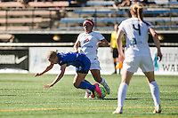 Seattle, WA - Sunday, May 1, 2016: Seattle Reign FC forward Merritt Mathias (9) collides with FC Kansas City defender Desiree Scott (3) during the first half of a National Women's Soccer League (NWSL) match at Memorial Stadium. Seattle won 1-0.