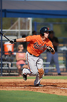 Baltimore Orioles Tim Nichting (55) at bat during an Instructional League game against the New York Yankees on September 23, 2017 at the Yankees Minor League Complex in Tampa, Florida.  (Mike Janes/Four Seam Images)
