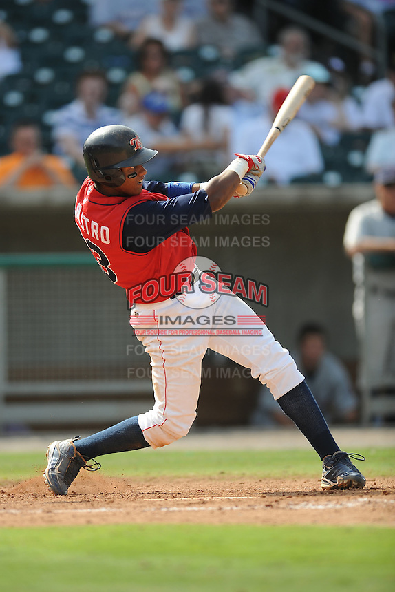 Starlin Castro Shortstop Tennessee Smokies (Chicago Cubs) swings at a pitch during the Southern League Playoffs at Smokies Park in Sevierville, TN September 13, 2009 (Photo by Tony Farlow/ Four Seam Images)