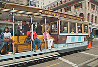 A cable car stop for passengers in San Francisco, California