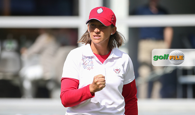 Angela Stanford (USA) holes out on the 16th during Saturday morning's Foursomes, at The Solheim Cup 2015 played at Golf Club St. Leon-Rot, Mannheim, Germany.  19/09/2015. Picture: Golffile | David Lloyd<br /> <br /> All photos usage must carry mandatory copyright credit (&copy; Golffile | David Lloyd)