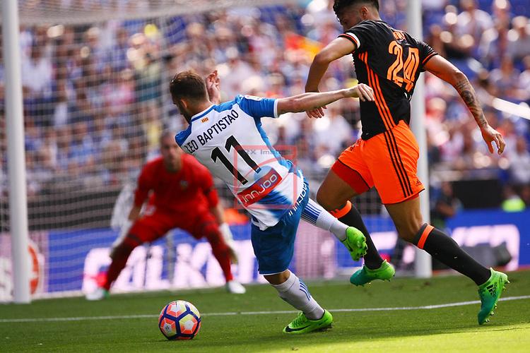 League Santander 2016/2017. Game: 37.<br /> RCD Espanyol vs Valencia CF: 0-1.<br /> Leo Baptistao vs Ezequiel Garay.