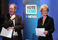 07/02/'11 TV3's Vincent Browne and Ursula Halligan pictured in the TV3 Studios this evening rehearsing for tomorrow night's party Taoiseach's debate...Picture Colin Keegan, Collins.****NO REPRODUCTION FEE FOR PIC****