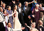 """Jack McBrayer, Rachel Dratch, Jerry O'Connell, Rachel Bloom, Laura Osnes, Tony Yazbeck, Harry Groener, Nancy Opel, Mark Linn-Baker with cast during the Manhattan Concert Productions 25th Anniversary concert performance of """"Crazy for You"""" at David Geffen Hall, Lincoln Center on February 19, 2017 in New York City."""