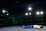 May 17, 2008, Tokyo, Japan - A wrestler takes a break after the warm-up.  (Photo by Tony McNicol/AFLO)