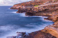 A long exposure at dawn at the Lana'i Lookout smooths out the rough shoreline, Hawai'i Kai, O'ahu.