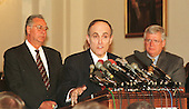 New York Mayor Rudy Giuliani participates in a press confrence on the state of communities and how the American Community Renewal Act could help the nation's poorest communities on 24 February, 1999. (L-R) United States House Majority Leader Dick Armey (Republican of Texas), Mayor Giuliani, and U.S. House Speaker Dennis Hastert (Republican of Illinois)..Credit: Ron Sachs / CNP