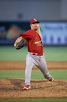 Palm Beach Cardinals relief pitcher Colton Thomson (37) delivers a pitch during a game against the Jupiter Hammerheads on August 4, 2018 at Roger Dean Chevrolet Stadium in Jupiter, Florida.  Palm Beach defeated Jupiter 7-6.  (Mike Janes/Four Seam Images)