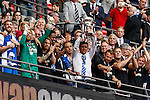 Darrell Clarke (Manager) of Bristol Rovers lifts the trophy after victory in the 2015 Vanarama Conference Promotion Final match between Grimsby Town and Bristol Rovers at Wembley Stadium, London<br /> Picture by David Horn/eXtreme aperture photography +44 7545 970036<br /> 17/05/2015