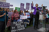 United States Senator Elizabeth Warren (Democrat of Massachusetts) speaks during a rally led by United States Congressional Democrats against United States President Donald J. Trump's proposed tax plan outside the United States Capitol in Washington, D.C. on November 1st, 2017.<br /> Credit: Alex Edelman / CNP