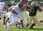 Palos Verdes, CA 11/03/17 - Jason Augello (Peninsula #58) and Hunter Hladek (Palos Verdes #8) in action during the Palos Verdes vs Palos Verdes Peninsula CIF Varsity football game at Peninsula High School for the battle of the hill.