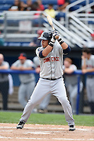 Connecticut Tigers third baseman Steven Fuentes (24) at bat during the first game of a doubleheader against the Batavia Muckdogs on July 20, 2014 at Dwyer Stadium in Batavia, New York.  Connecticut defeated Batavia 5-3.  (Mike Janes/Four Seam Images)