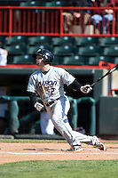 Akron RubberDucks outfielder Tyler Holt (2) at bat during a game against the Erie SeaWolves on May 18, 2014 at Jerry Uht Park in Erie, Pennsylvania.  Akron defeated Erie 2-1.  (Mike Janes/Four Seam Images)