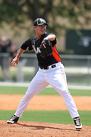 Miami Marlins pitcher Corey Madden #47 delivers a pitch during an extended Spring Training game against the New York Mets at the Roger Deam Complex on May 1, 2012 in Jupiter, Florida.  (Mike Janes/Four Seam Images)