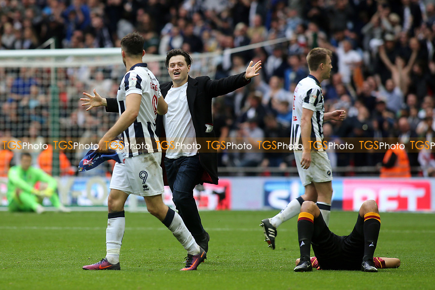 A pitch invader runs towards Millwall's Lee Gregory at the final whistle during Bradford City vs Millwall, Sky Bet EFL League 1 Play-Off Final at Wembley Stadium on 20th May 2017