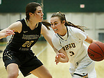SPEARFISH, SD - FEBRUARY 4, 2017 -- Julia Seamans #3 of Black HIlls State drives toward Kelly O'Flannigan #20 of UCCS during their Rocky Mountain Athletic Conference game Saturday at the Donald E. Young Center in Spearfish, S.D.  (Photo by Dick Carlson/Inertia)