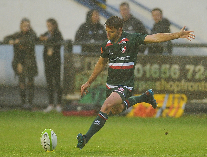 Leicester Tigers' Joe Ford kicks a conversion<br /> <br /> Photographer Kevin Barnes/CameraSport<br /> <br /> Rugby Union Friendly - Ospreys v Leicester Tigers - Friday 11th August 2017 - Brewery Field - Bridgend<br /> <br /> World Copyright &copy; 2017 CameraSport. All rights reserved. 43 Linden Ave. Countesthorpe. Leicester. England. LE8 5PG - Tel: +44 (0) 116 277 4147 - admin@camerasport.com - www.camerasport.com