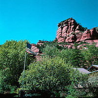 Coconino National Forest near Sedona, Arizona, USA - Sandstone Cliffs above Slide Rock State Park in Oak Creek Canyon