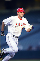 Troy Glaus of the Los Angeles Angels runs the bases during a 2002 MLB season game at Angel Stadium, in Anaheim, California. (Larry Goren/Four Seam Images)