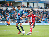 Lincoln City's Tyler Walker gets past Wycombe Wanderers' Darius Charles only to be flagged offside<br /> <br /> Photographer Andrew Vaughan/CameraSport<br /> <br /> The EFL Sky Bet League One - Wycombe Wanderers v Lincoln City - Saturday 7th September 2019 - Adams Park - Wycombe<br /> <br /> World Copyright © 2019 CameraSport. All rights reserved. 43 Linden Ave. Countesthorpe. Leicester. England. LE8 5PG - Tel: +44 (0) 116 277 4147 - admin@camerasport.com - www.camerasport.com