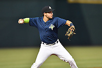 Third baseman Michael Paez (3) of the Columbia Fireflies plays defense in a game against the West Virginia Power on Friday, May 19, 2017, at Spirit Communications Park in Columbia, South Carolina. West Virginia won, 3-1. (Tom Priddy/Four Seam Images)