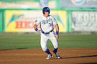 Chris DeVito (34) of the Burlington Royals takes his lead off of second base against the Princeton Rays at Burlington Athletic Stadium on August 12, 2016 in Burlington, North Carolina.  The Royals defeated the Rays 9-5.  (Brian Westerholt/Four Seam Images)