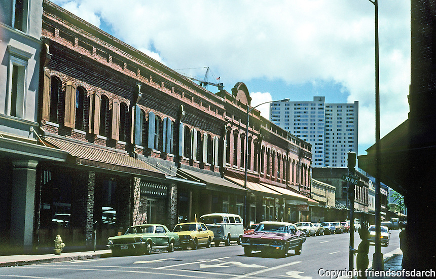 Honolulu: Nuuanu Ave. store fronts, south of Hotel St. Photo '82.