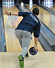 Dillon Ristano of Hewlett rolls a strike during a Nassau County boys bowling match against Seaford at Baldwin Lanes on Monday, Dec. 18, 2017.