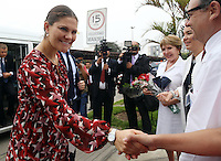 Victoria, Crown Princess of Sweden and  Duchess of V&auml;sterg&ouml;tland greats the staff of the National Cancer Institute in Lima, Peru, October 20 2015. The Princess is in the second day of her visit to Peru along with her husband  Daniel Westling. The National Cancer Institute provides treatment and research to help kids with cancer.<br /> <br /> <br /> Foto Geraldo Caso/Archivolatino/Astufoto