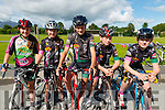 L-R Tara and Alma Russell Kissane from Killarney, Oisin O'Connor from Beaufort, Stefan Dreier from Beaufort and Eoghan Pattwell from Killarney at the starting line of Ring of the Reeks cycle in Beaufort GAA club last Saturday morning.