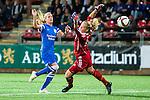 Solna 2015-08-31 Fotboll Damallsvenskan AIK - Eskilstuna United :  <br /> Eskilstunas Olivia Schough med ett avslut mot m&aring;l bakom AIK:s m&aring;lvakt Britta Elsert Gynning under matchen mellan AIK och Eskilstuna United <br /> (Foto: Kenta J&ouml;nsson) Nyckelord:  Damallsvenskan Allsvenskan Dam Damer Damfotboll Skytteholm Skytteholms IP AIK Gnaget Eskilstuna United