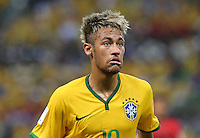 Brazil's Neymar looks worried