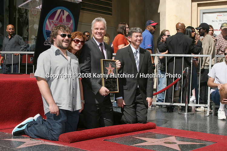 Jack Black, Susan Sarandon, Tim Robbins & Hollywood Chamber of Commerce President Leron Gubler at the Star on the Walk of Fame Ceremony for Tim Robbins on the Hollywood Walk of Fame outside the Kodak Theater  in Los Angeles,  CA on.October 10, 2008.©2008 Kathy Hutchins / Hutchins Photo...                .