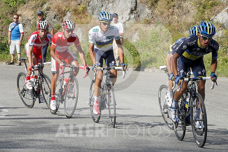 Alberto Contador (c), Joaquin Purito Rodriguez (c-l) and Daniel Moreno (l) during the stage of La Vuelta 2012 between La Robla and Lagos de Covadonga.September 2,2012. (ALTERPHOTOS/Paola Otero)