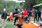 28 MAY 2016: Benjamin Ezike of Buffalo State celebrates his victory in the men's triple jump during the Division III Men's and Women's Outdoor Track & Field Championship held at Walston Hoover Stadium on the Wartburg College campus in Waverly, IA. Ezike won the event with a jump of 15.53m. Conrad Schmidt/NCAA Photos