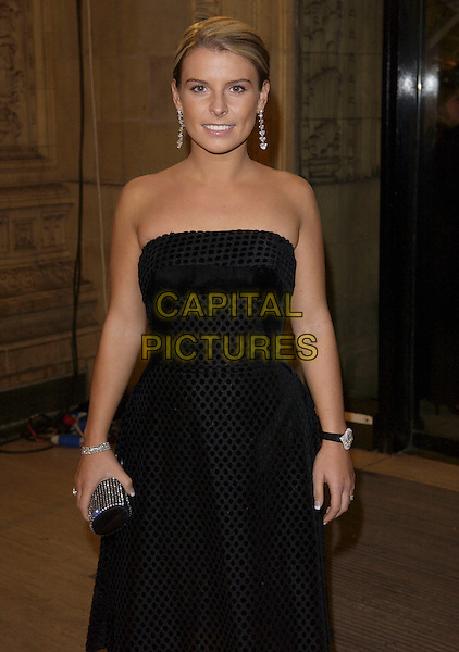 COLEEN MCLOUGHLIN.National Television Awards 2005 at the Royal Albert Hall.London, United Kingdom.Ref: FIN.3/4 length black strapless boobtube dress dangley earrin earrings half smiling posed glamourous.www.capitalpictures.com.sales@capitalpictures.com.© Capital Pictures .