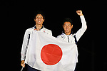 Tetsuya Isozak & Akira Takayanagi (JPN), <br /> AUGUST 31, 2018 - Sailing : Men's 470 Race Victory ceremony at Indonesia National Sailing Center during the 2018 Jakarta Palembang Asian Games in Jakarta, Indonesia. <br /> (Photo by MATSUO.K/AFLO SPORT)