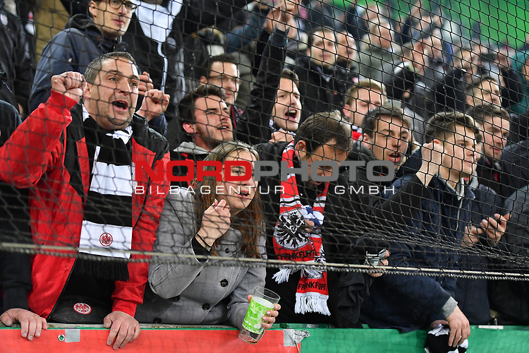 25.04.2017, Borussia-Park, Moenchengladbach, GER, DFB Pokal Halbfinale, Borussia Moenchengladbach vs Eintracht Frankfurt<br /> <br /> im Bild / picture shows: <br /> nach dem Sieg sind die Frankfurter Fans au&szlig;er Rand und Band. Fans, freundlich, Stimmung, farbenfroh, Nationalfarbe, geschminkt, Emotionen, <br /> <br /> <br /> <br /> Foto &copy; nordphoto / Meuter