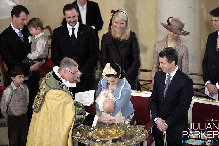 Prince Joachim, Prince Felix, Prince Nikolai, Crown Prince Haakon & Crown Princess Mette-Marit of Norway, Crown Princess Victoria of Sweden and Crown Prince Pavlos of Greece attend the Christening of Crown Prince Frederik & Crown Princess Mary of Denmark's son Christian Valdemar Henri John at the Palace Chapel, Christiansborg Palace, followed by a reception in the Great Hall..