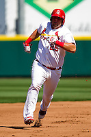 Matthew Adams (25) of the Springfield Cardinals hurries around the bases during a game against the Frisco RoughRiders on April 16, 2011 at Hammons Field in Springfield, Missouri.  Photo By David Welker/Four Seam Images
